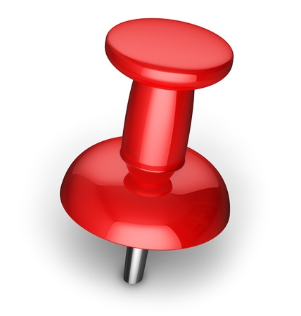 pinboard: Red office pushpin or thumbtack for business paperwork isolated on white background
