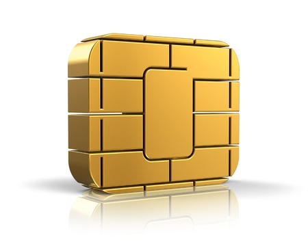 sim: SIM card or credit card concept - golden card microchip isolated on white background with reflection effect