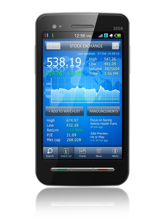 online trading: Tax, accounting and making money concept - black glossy business touchscreen smartphone with stock exchange market financial application isolated on white background with reflection effect  Design of smartphone and application interface is my own