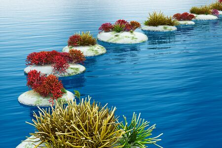 Zen path from pebble stones across blue water surface