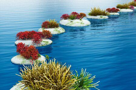 Zen-Weg aus Kieselsteinen in blauen Wasseroberfläche