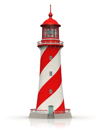 maritime: Red lighthouse isolated on white background with reflection effect