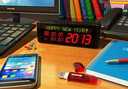Creative New Year 2013 concept - macro view of digital alarm clock with  Happy New Year   message on table among other business objects  Design of all objects is my own and all text labels are fully abstract Stock Photo - 16098493