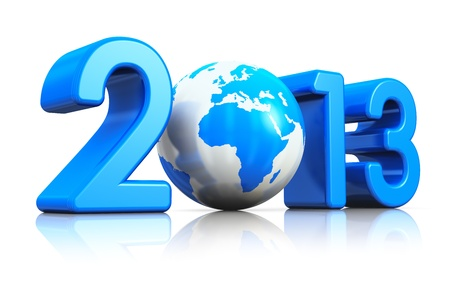 Creative New Year 2013 concept with blue glossy Earth globe isolated on white background with reflection effect photo