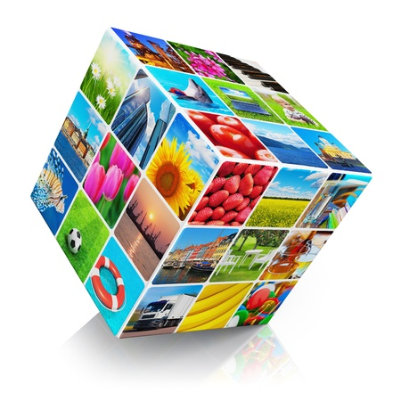 photo montage: Cube with colorful photo collection collage isolated on white background with reflection effect. All photos used here are my own from my own portfolio