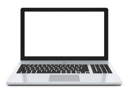 Modern metal office laptop or silver business notebook
