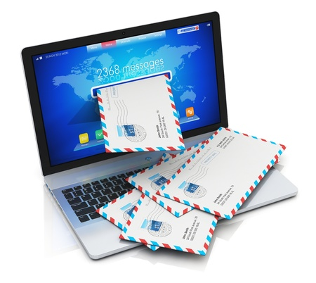 email security: heap of letters in envelopes falling from screen of modern metal office laptop or silver business notebook