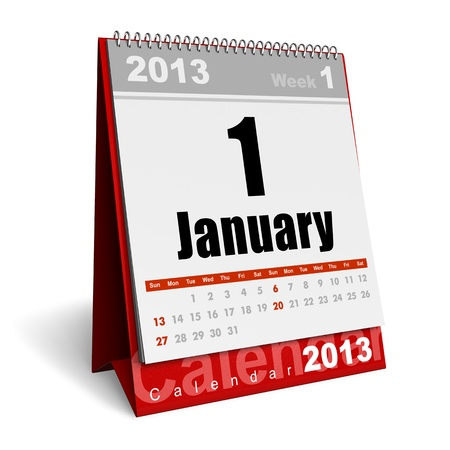 New Year concept  January 2013 calendar isolated on white background photo
