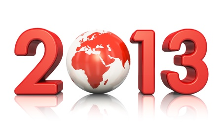 Creative New Year 2013 concept with red glossy Earth globe isolated on white background with reflection effect photo