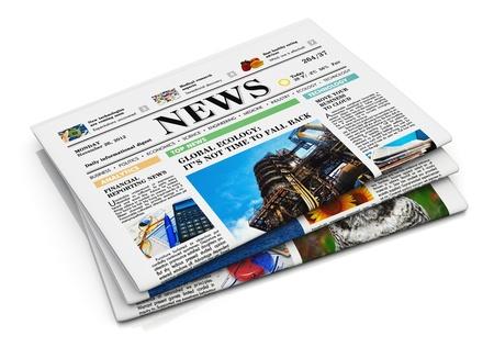 periodicos: Pila de peri�dicos con noticias de negocios aislados en fondo blanco con efecto de reflexi�n Foto de archivo