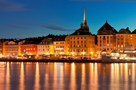 Summer night scenery of the Old Town  Gamla Stan  in Stockholm, Sweden photo