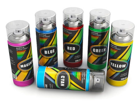 Set of color spray paint cans isolated on white background. Design is my own and all text labels are fully abstract photo