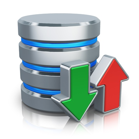 backups: HDD business database, backup and cloud computing service concept  metal HDD icon with green download and red upload arrows isolated on white background with reflection effect