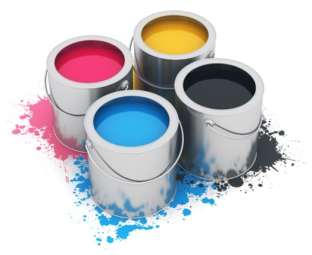 object printing: Group of metal tin cans with color CMYK acrylic oil paint isolated on white background
