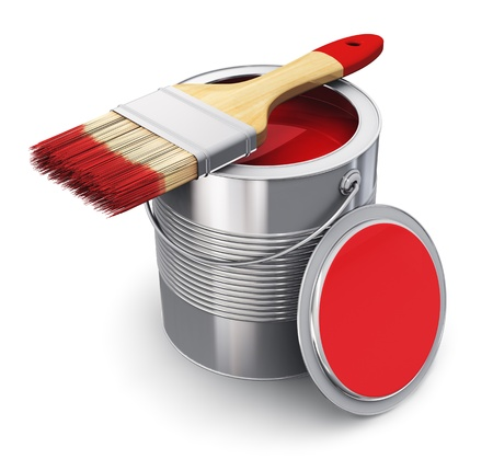 Metal tin can with red paint and paintbrush isolated on white background photo