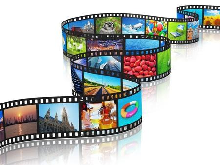 diaporama: Streaming film fixe concept m�diatique avec des photos color�es isol� sur fond blanc avec effet de r�flexion