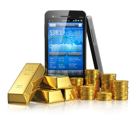 online trading: Creative business financial corporate stock exchange trading and making money and profit investment concept  black glossy touchscreen smartphone with stock market application, golden ingots and gold coins  Design is my own and totally original Stock Photo