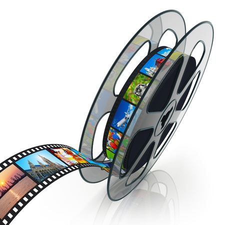 Film reel with filmstrip with colorful pictures isolated on white background with reflection effect Stock Photo