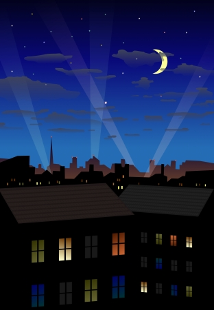 Detailed  illustration of illuminated night city Vector