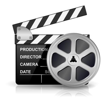 кинематография: иллюстрации черная доска тарелка для производства фильмов, фильмов и кино, изолированных на белом фоне с эффектом отражения