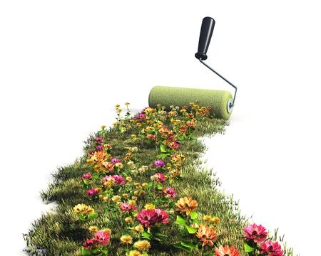 responsabilidad: Ecol�gico, protecci�n del medio ambiente y el concepto de naturaleza de verano: de dibujo pradera fresca hierba verde con flores de colores con el cepillo de rodillo de pintura aislado sobre fondo blanco