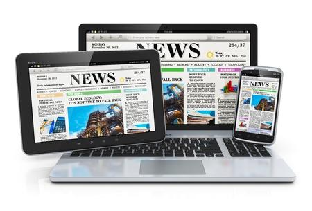 newspapers: Mobiele media-apparaten begrip Stockfoto