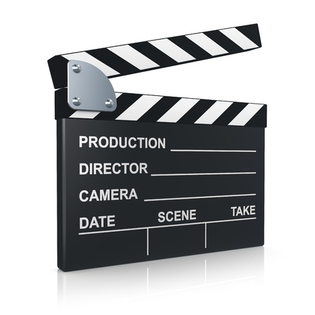 clap: Black clapper board for film, movie and cinema production isolated on white background with reflection effect Stock Photo