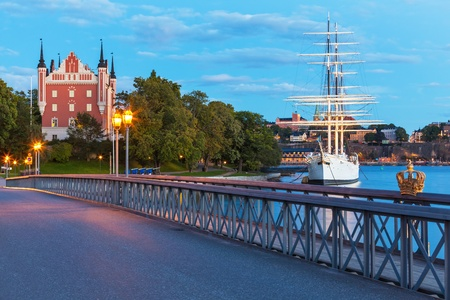 Evening summer scenery of the Old Town (Gamla Stan) in Stockhom, Sweden photo