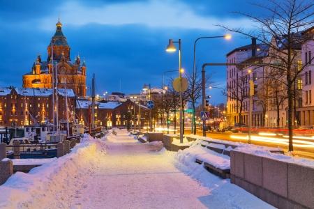 舊城區在芬蘭首都赫爾辛基的冬日景色 版權商用圖片