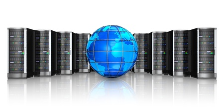 web server: Networking, web cloud computing and telecommunication service internet concept  row of black network servers with blue glossy Earth globe world map isolated on white background with reflection effect