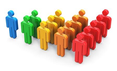 figuras humanas: Las redes sociales y los medios de comunicaci�n la gesti�n de clientes de crecimiento concepto gr�fico de barras gr�fico de figuras en color humanas aisladas sobre fondo blanco