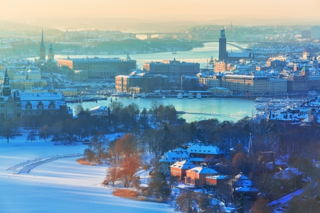 winter palace: Winter aerial scenery of the Old Town  Gamla Stan  in Stockholm, Sweden