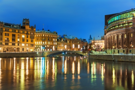 Winter night scenery of the Old Town (Gamla Stan) in Stockholm, Sweden photo