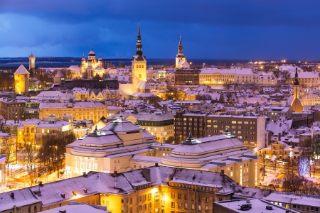estonia: Wonderful winter night aerial scenery of the Old Town in Tallinn, Estonia