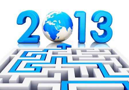 2013 year business abstract creative concept  path across labyrinth to 2013 year with blue Earth globe isolated on white background with reflection effect photo