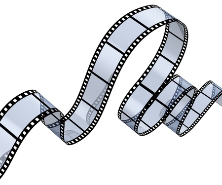slideshow: Transparent filmstrip isolated on white background