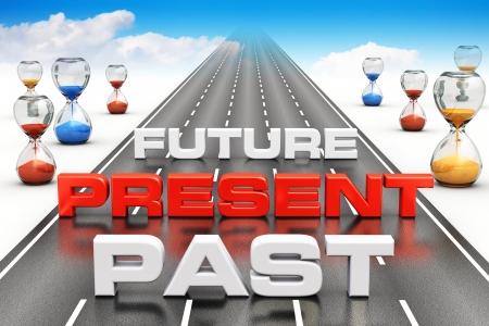 vision future: Zakelijke visie, perspectief en tijd passeren concept van verleden, heden en toekomst op lange eindeloze weg met zandlopers in de richting van de blauwe hemel met witte wolken