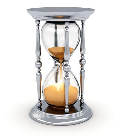 reloj de arena: Reloj de arena reloj de arena o plata vendimia aislado en el fondo blanco Foto de archivo