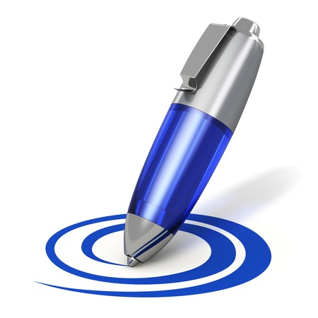 ballpoint: Creativity, web blogging and internet communication concept  blue metal ballpoint pen drawing a curved shape isolated on white background Stock Photo