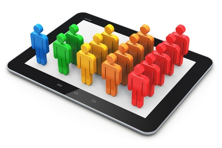 Mobile social media networking and client management growth concept photo