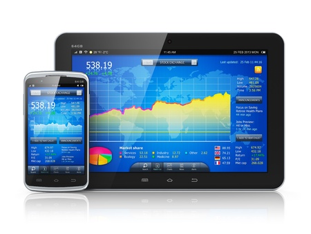 online trading: Mobile business concept  stock exchange market application on modern black blossy touchscreen smartphone and tablet PC computer