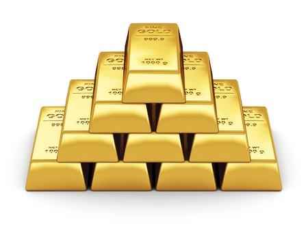 процветание: Бизнес-финансовая концепция банковского набор золотых слитков на белом фоне
