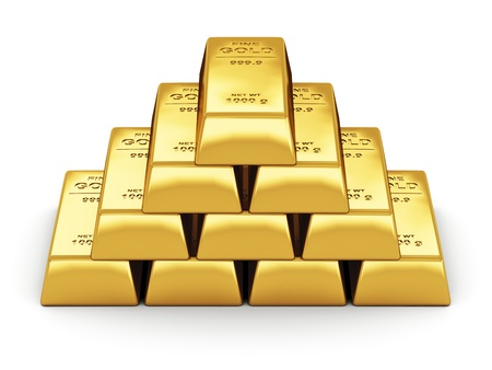 lingotto: Concetto di business bancario finanziario serie di lingotti d'oro isolato su sfondo bianco