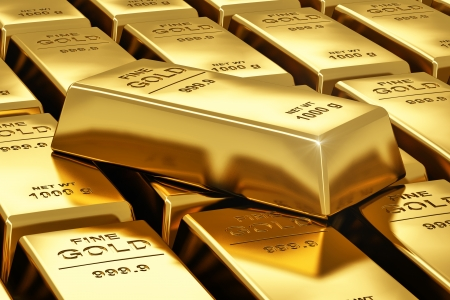 wealth: Macro view of stacks of gold bars Stock Photo