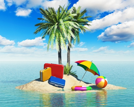 Travel, tourism and vacations concept  travel cases luggage, umbrella  beach ball and lifebelt on lonely island with green palm trees in tropical sea water summer landscape with blue sky with clouds Stock Photo