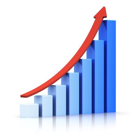 Zakelijk succes en financiële groei en ontwikkeling concept blauwe groeiende staafdiagram met rode stijgende pijl geïsoleerd op een witte achtergrond met reflectie effect Stockfoto