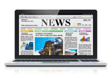 press news: Modern metal glossy office laptop with business news internet web site on screen isolated on white background with reflection effect  Design and all used photos are my own and all texts are fully abstract
