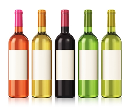 botella champagne: Conjunto de botellas de vino de color con etiquetas en blanco aislado en fondo blanco con efecto de reflexión Foto de archivo