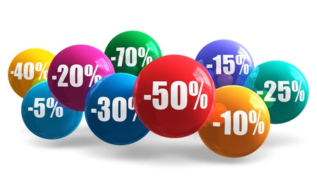 save button: Sale and discount concept  group of glossy color balls with discount percentage numbers isolated on white background Stock Photo