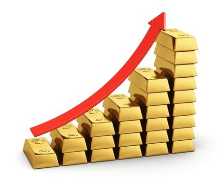 lingotes de oro: El �xito del negocio, el crecimiento econ�mico y el desarrollo bancario concepto gr�fico de barras de lingotes de oro con la flecha roja sobre fondo blanco Foto de archivo